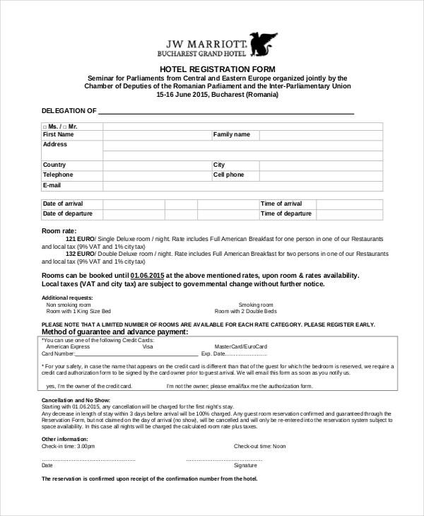 Sample Hotel Registration Forms  Sample Forms
