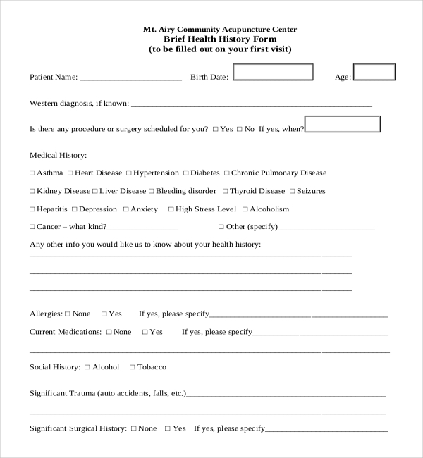 Sample Health History Form  LondaBritishcollegeCo