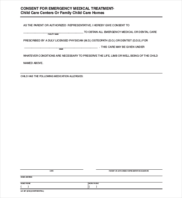 8 Sample Child Medical Consent Forms – Sample Medical Consent Form
