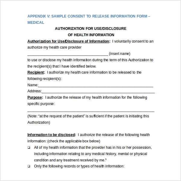 20 Sample Medical Release Forms – Sample Against Medical Advice Form