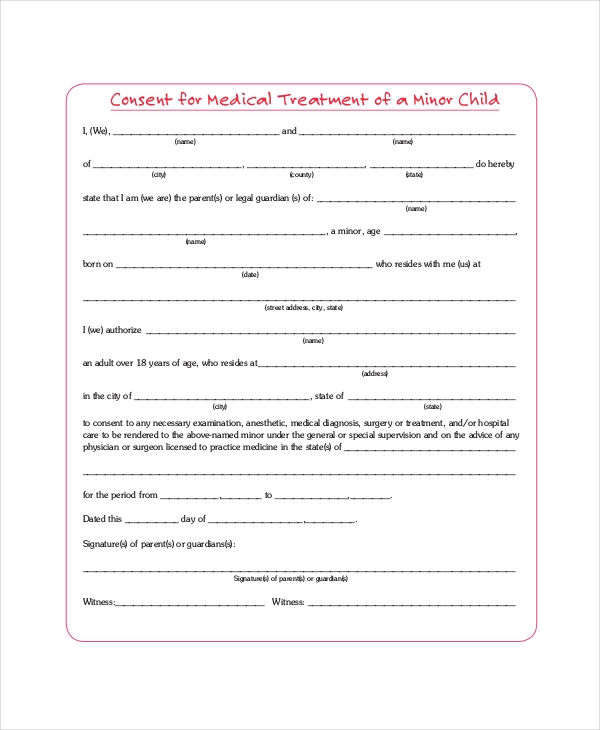 consent for medical treatment of a minor form sample consent forms 8 free documents in pdf doc 19156
