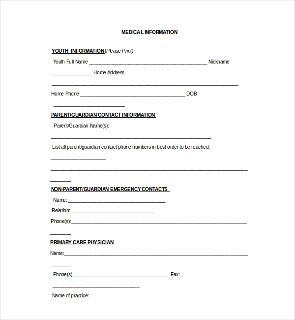 Church Medical Release Form