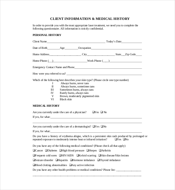 client medical history form