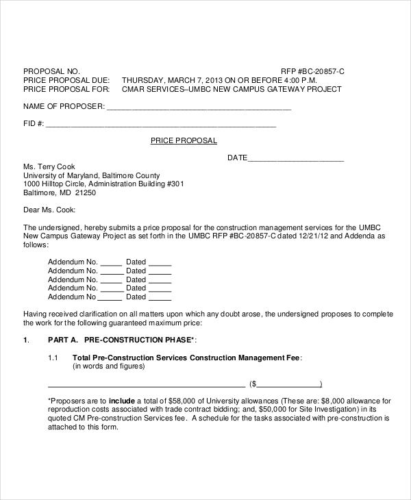 Sample Construction Proposal Forms 7 Free Documents in PDF Doc – Construction Proposal Form