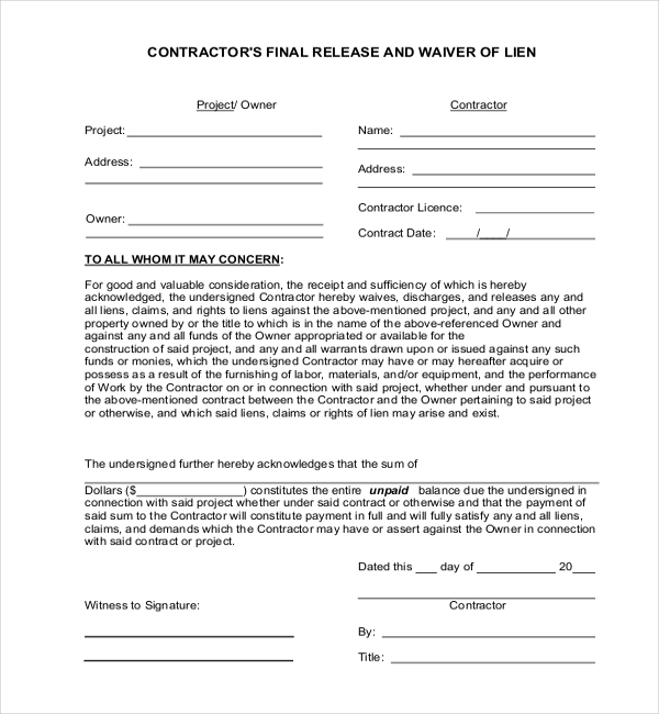 Sample Medical Lien