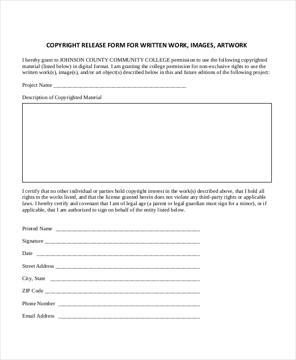 Captivating Sample Copyright Release Forms Free Documents In Pdf Doc