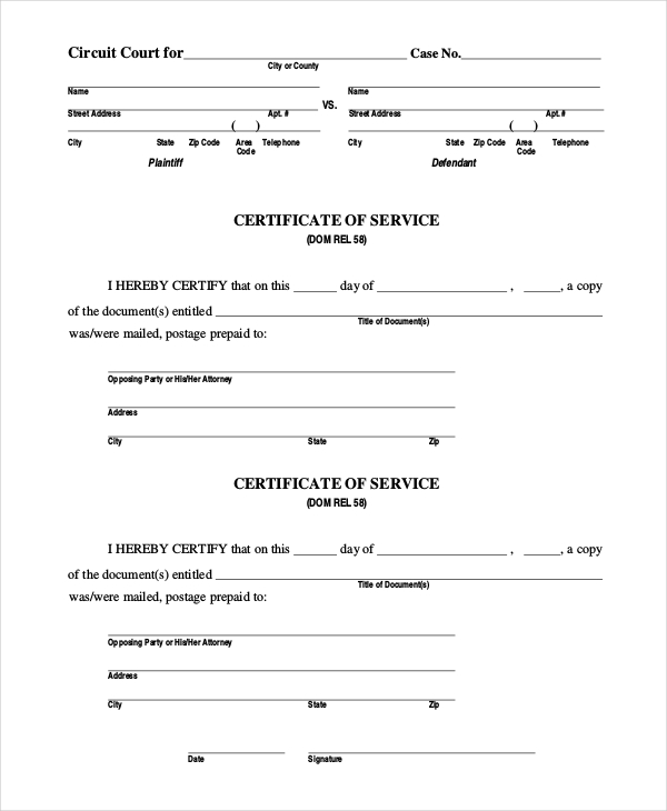 15 sample certificate of service forms sample forms for Certificate of service template