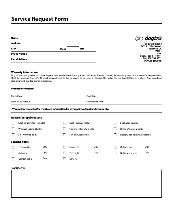 Sample Service Request Forms  Sample Forms