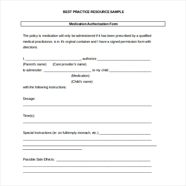 day care medical release form