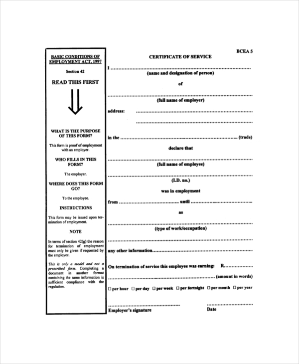 department of labour certificate of service form