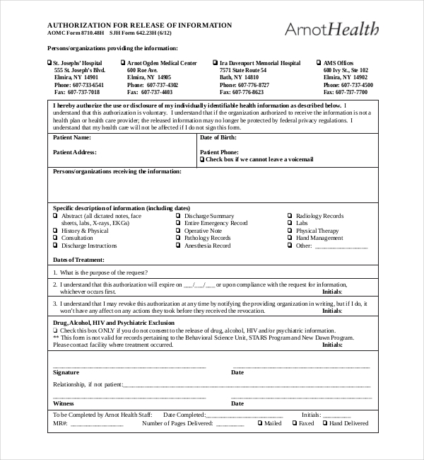 19+ Sample Medical Records Release Forms | Sample Forms