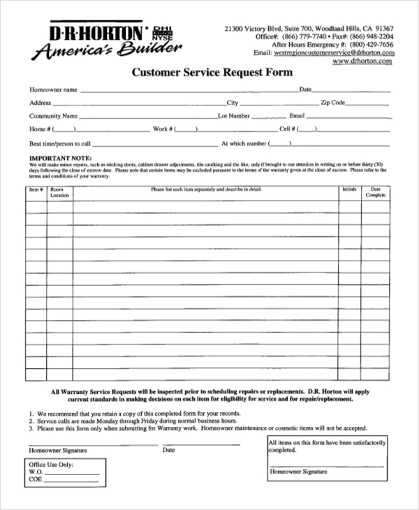 Customer Request Form Dr Horton Customer Service Request Form