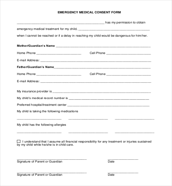 Sample Child Medical Consent Forms  Sample Forms