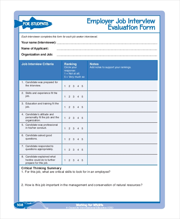 12 Interview Feedback Form Samples Free Sample Example Format – Employee Feedback Forms