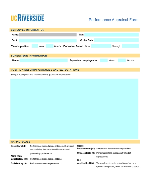Sample Performance Appraisal Forms   Free Documents In Pdf Word