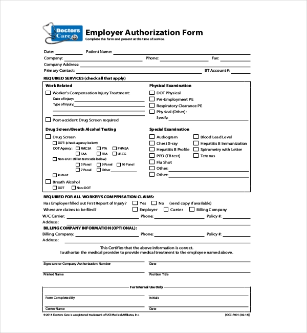 Sample Medical Authorization Forms  Sample Forms