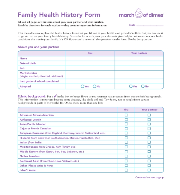 Medical Forms Family Medical History Form Sample Medical History