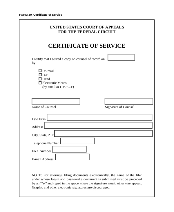 Sample Certificate Of Service Template Federal Certificate Of