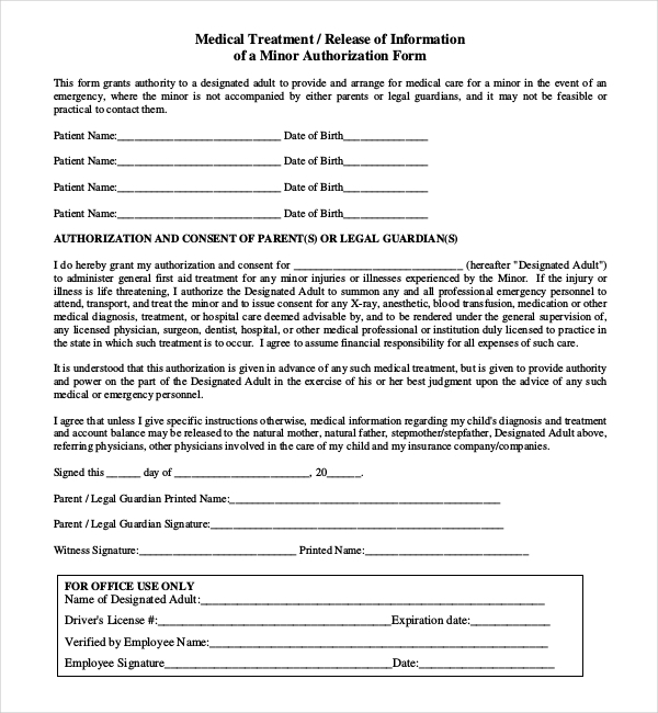 medication consent form template - 8 sample child medical consent forms sample forms