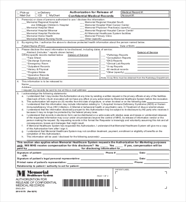 florida medical records release form