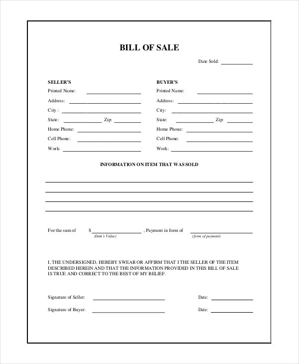 Sample General Bill of Sale Forms | Sample Forms