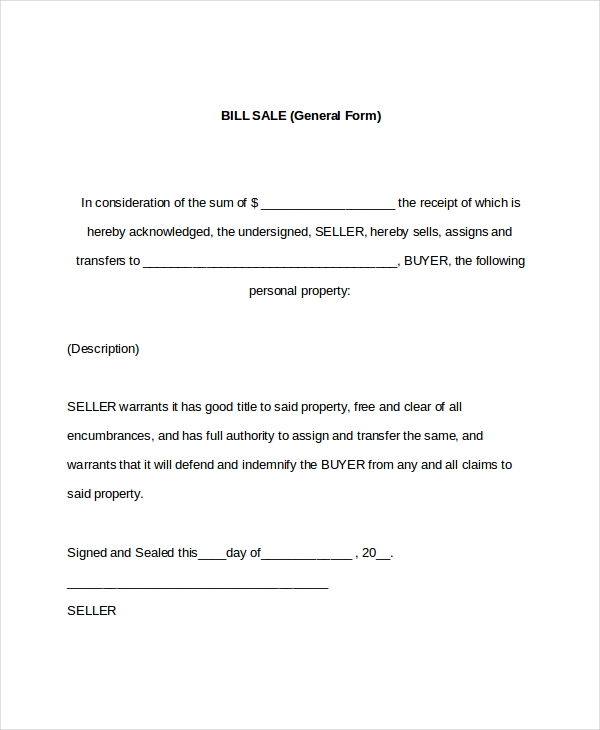 Attractive Sample Bill Of Sale Form. 7 Sample General Bill Of Sale Forms ... Throughout General Bill Of Sale Form
