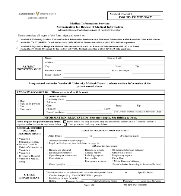 Sample Medical Records Release Forms  Sample Forms