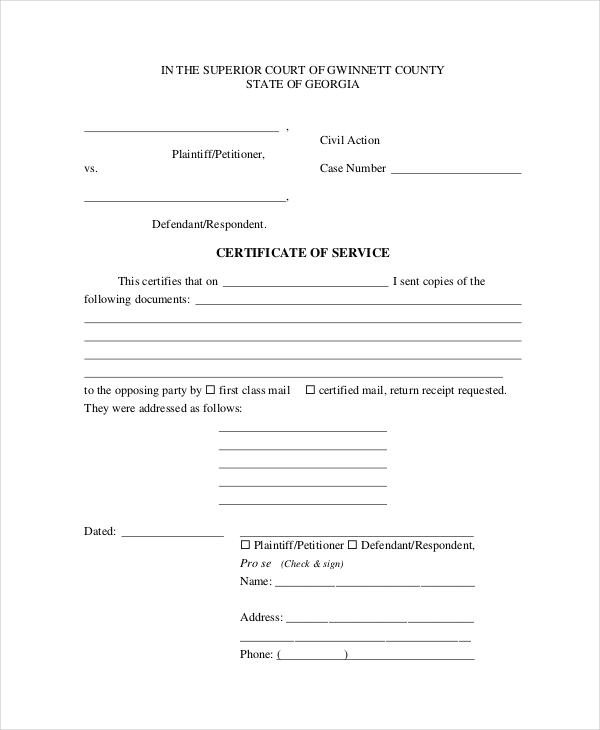 15+ Sample Certificate Of Service Forms | Sample Forms