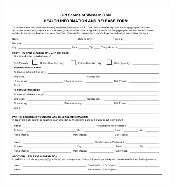 girl scout medical release form
