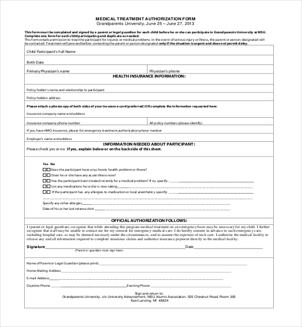 Doc585624 Sample Medical Treatment Authorization Letter – Sample Medical Authorization Letter