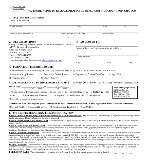 group health medical release form