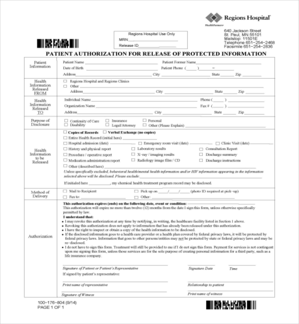 FREE 19+ Sample Medical Records Release Forms | PDF