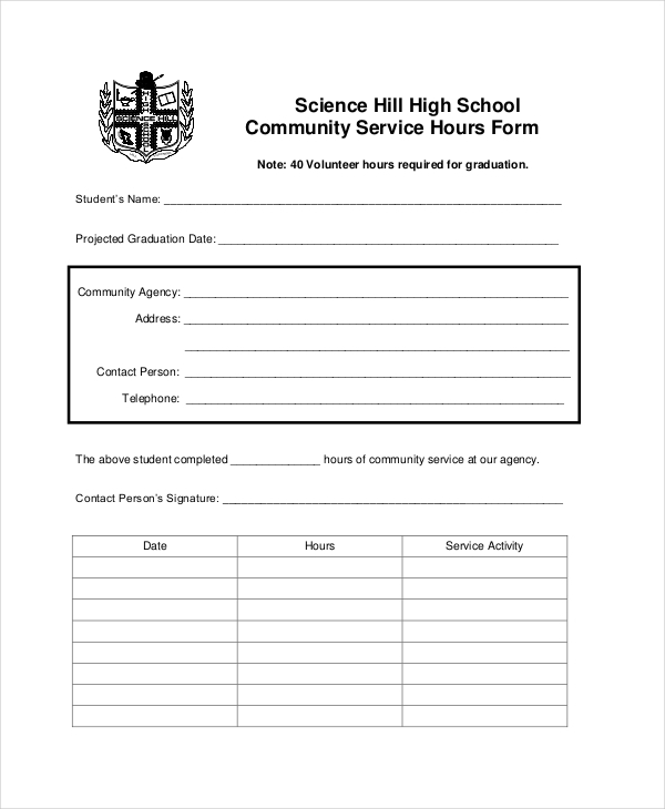 community service hours sheet for high school 8 sample service hours forms sample forms 17461