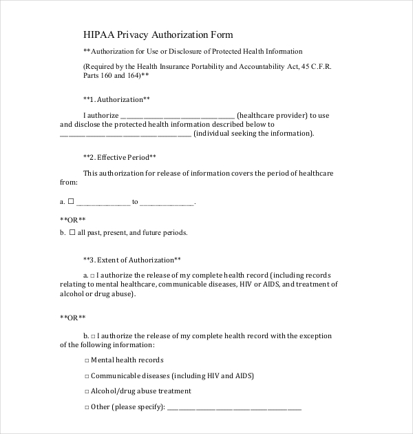 Sample Medical Release Forms  Sample Forms