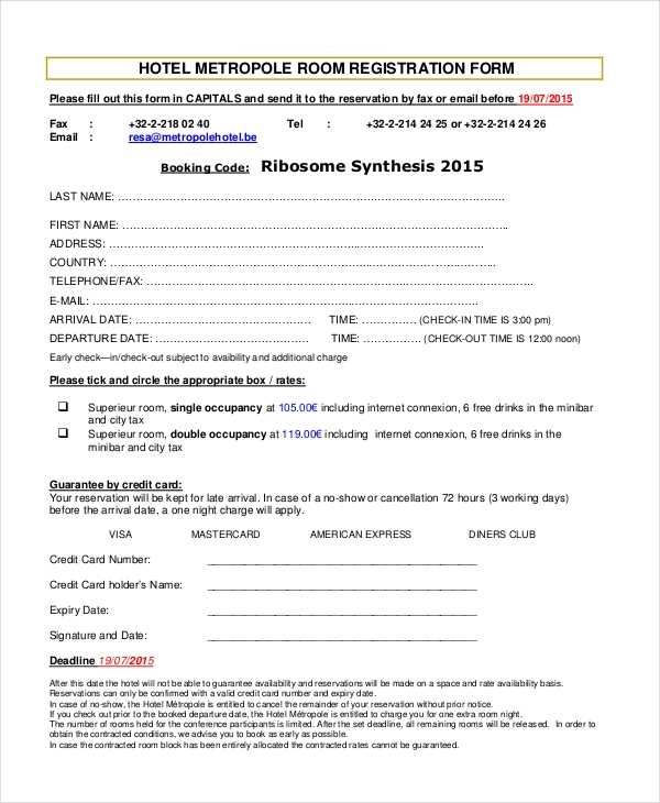 hotel metropole registration form