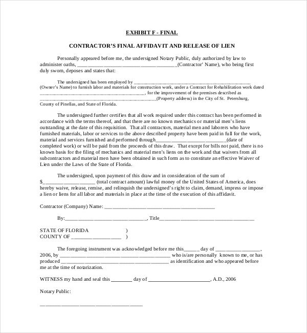 Sample Lien Release Forms  Sample Forms