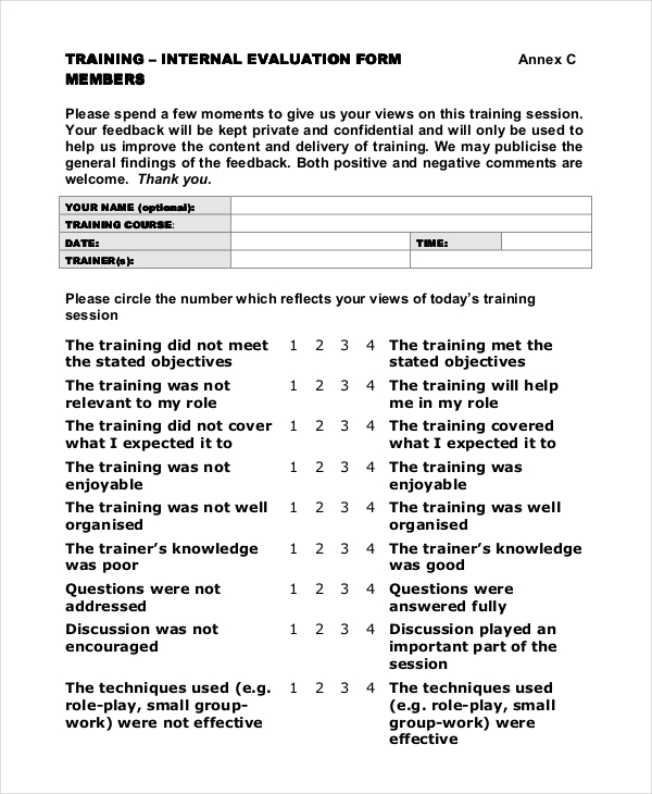 Training Evaluation Form Training Evaluation Form A Template Kfea