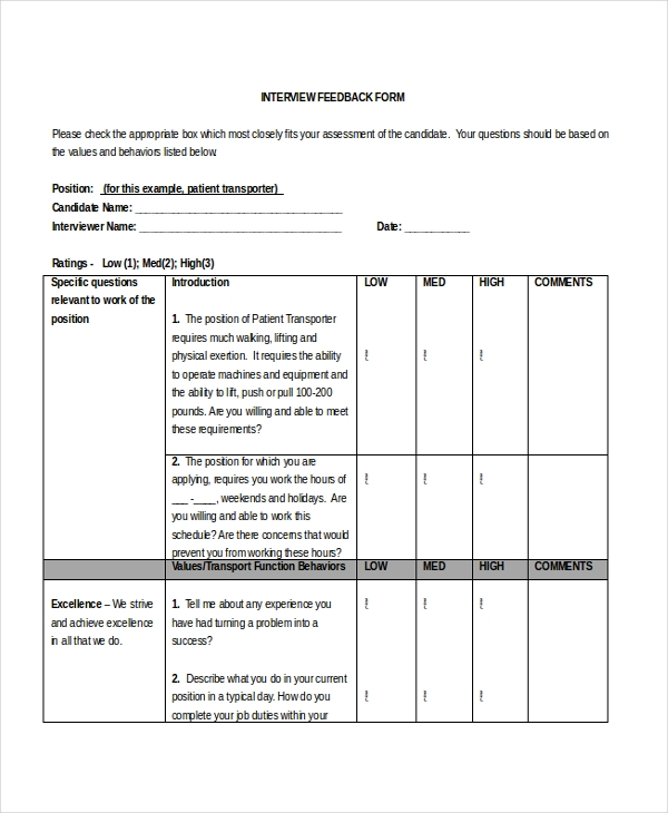 12+ Interview Feedback Form Samples - Free Sample, Example Format
