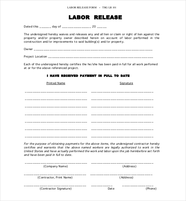 job lien release form