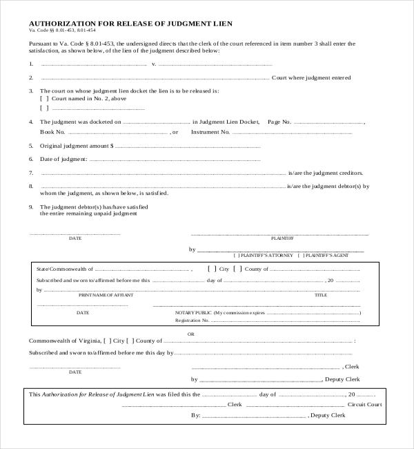 judgment lien release form