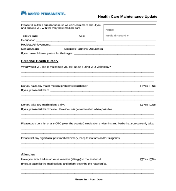 21+ Sample Medical History Forms | Sample Forms