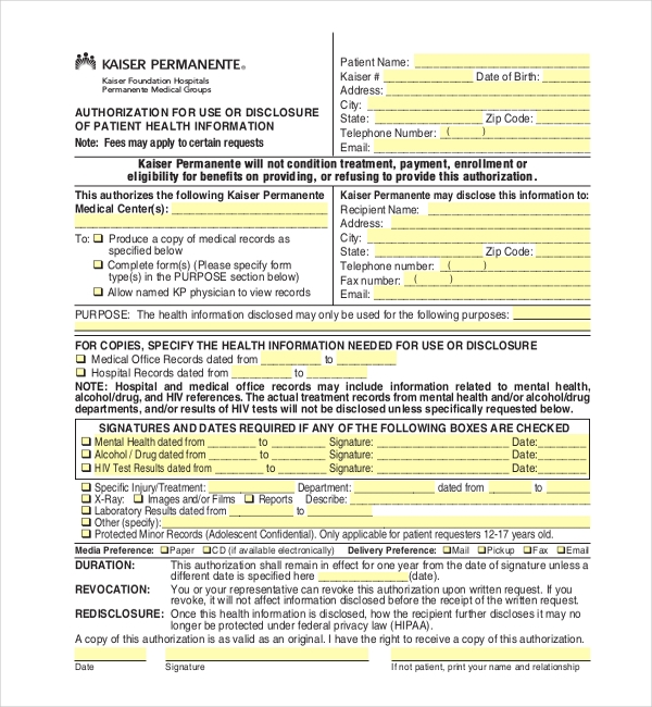 kaiser medical records release form