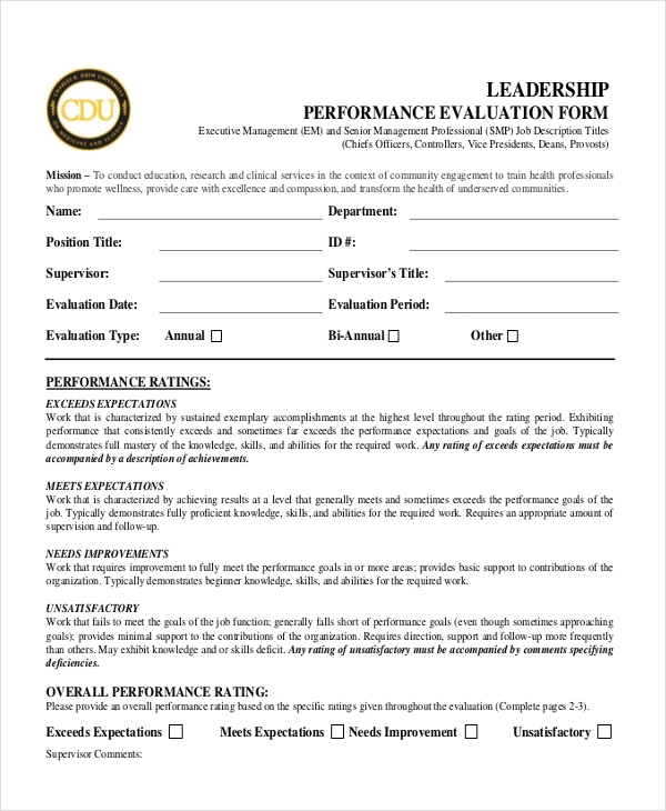 Sample performance appraisal forms 12 free documents in for Leadership evaluation form templates