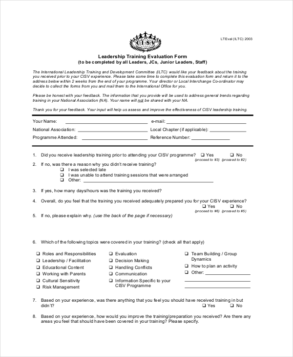 leadership training feedback form