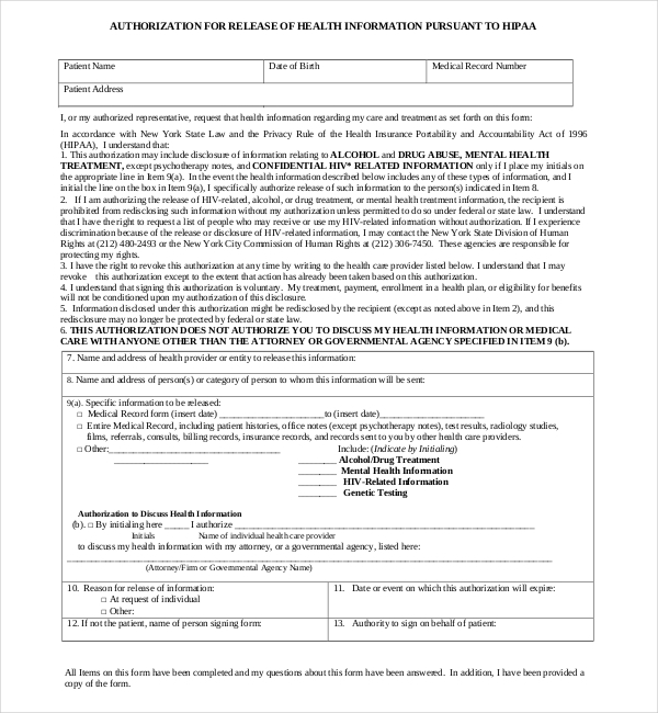 Doc403524 Medical Authorization Release Form Sample Medical – Sample Medical Authorization Form