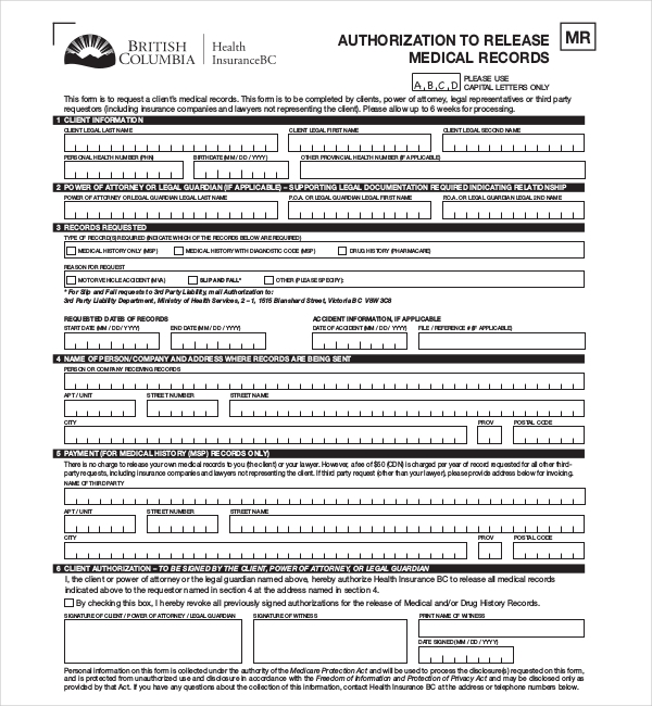 Medical Records Release Form Example Medical Records Release Form
