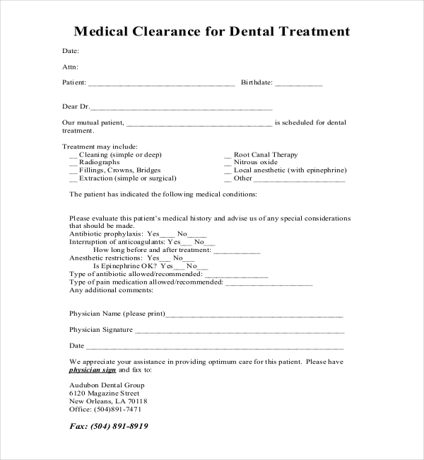 dental clearance letter for surgery 27  Sample Medical Clearance Forms | Sample Forms