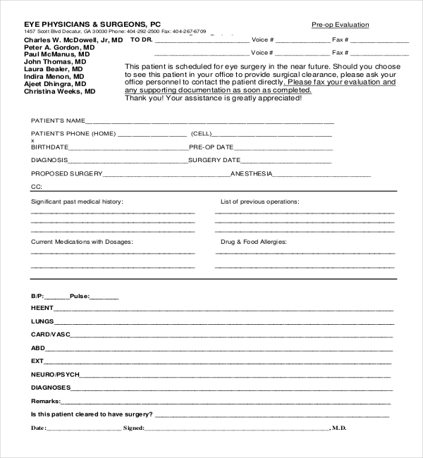 Sample Medical Clearance Forms  Sample Forms