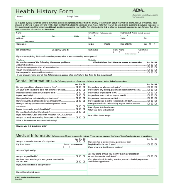 Sample Medical History Forms  Sample Forms