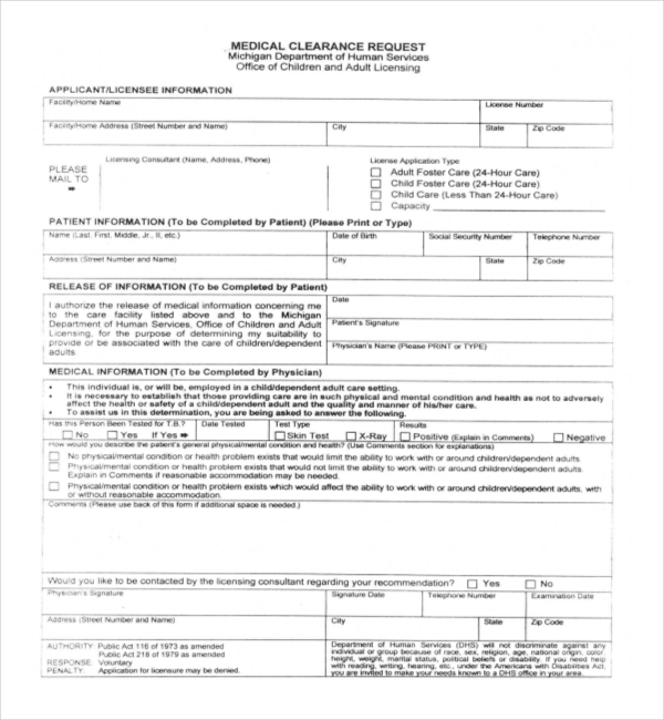 Sample Medical Clearance Forms